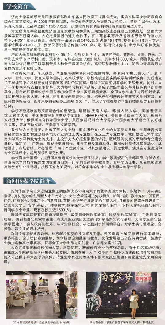 济南大学泉城学院2017年艺术类招生简章